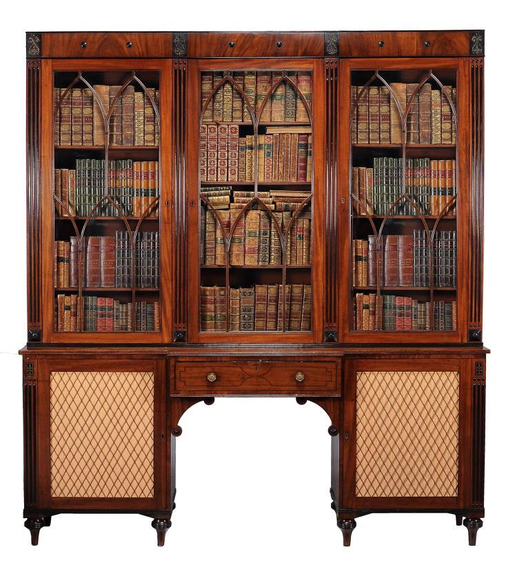 A Regency mahogany secretaire library bookcase, circa 1820
