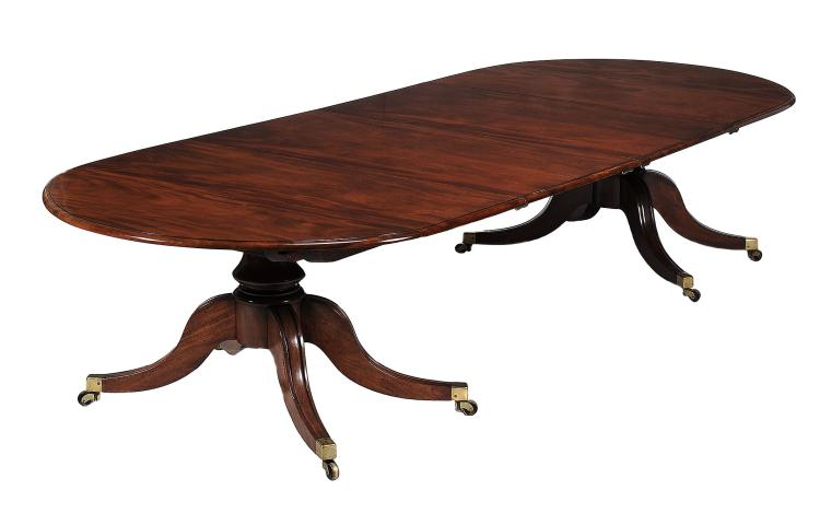 A William IV mahogany twin pedestal dining table, circa 1835