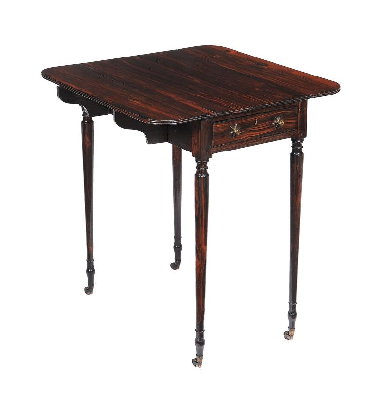A Regency calamander Pembroke table, circa 1815, of small proportion