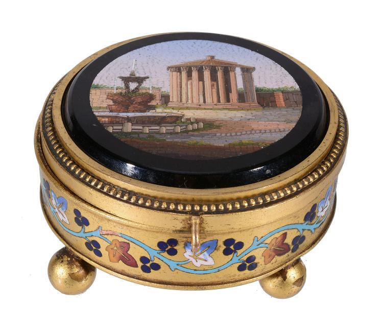 An Italian micro-mosaic inset gilt metal casket, circa 1870