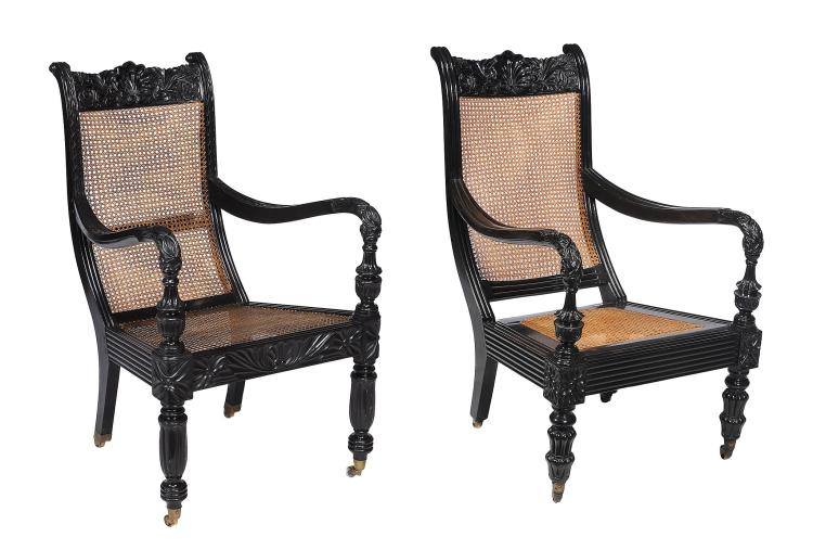 A similar pair of Ceylonese solid ebony armchairs, Galle District, circa 1840