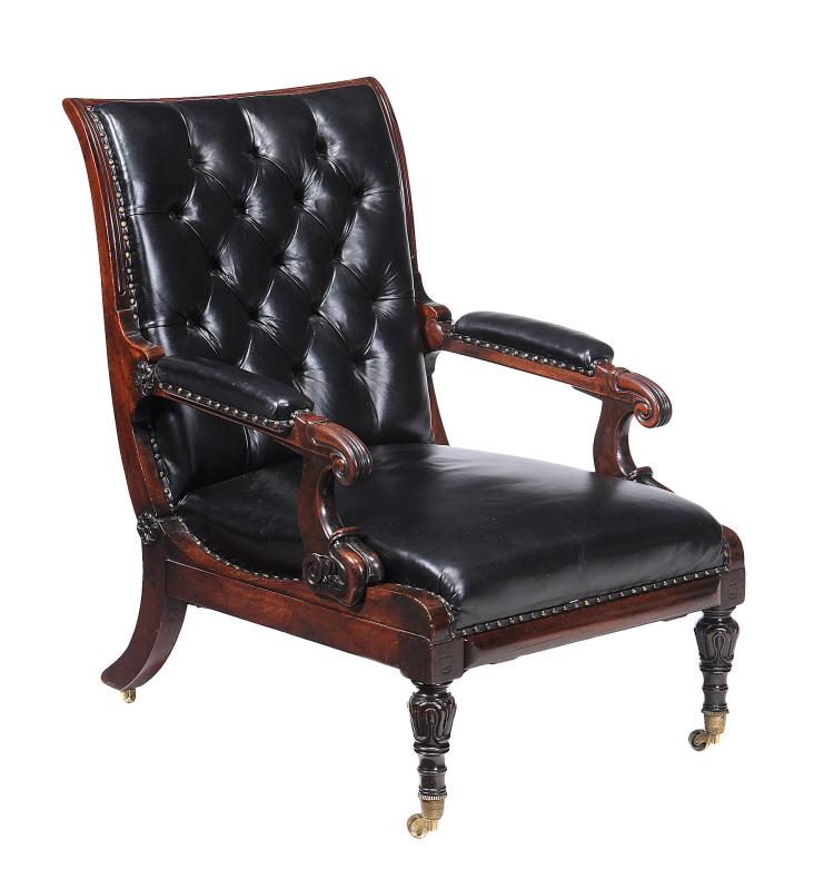 A William IV mahogany metamorphic library armchair , circa 1832
