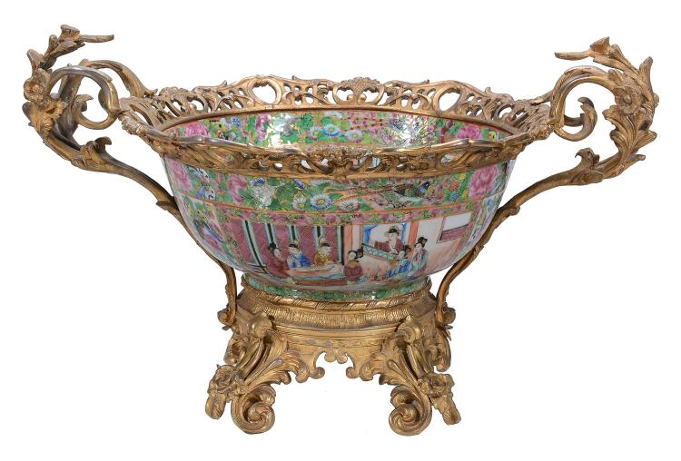 A Cantonese famille rose porcelain and Continental gilt bronze mounted bowl