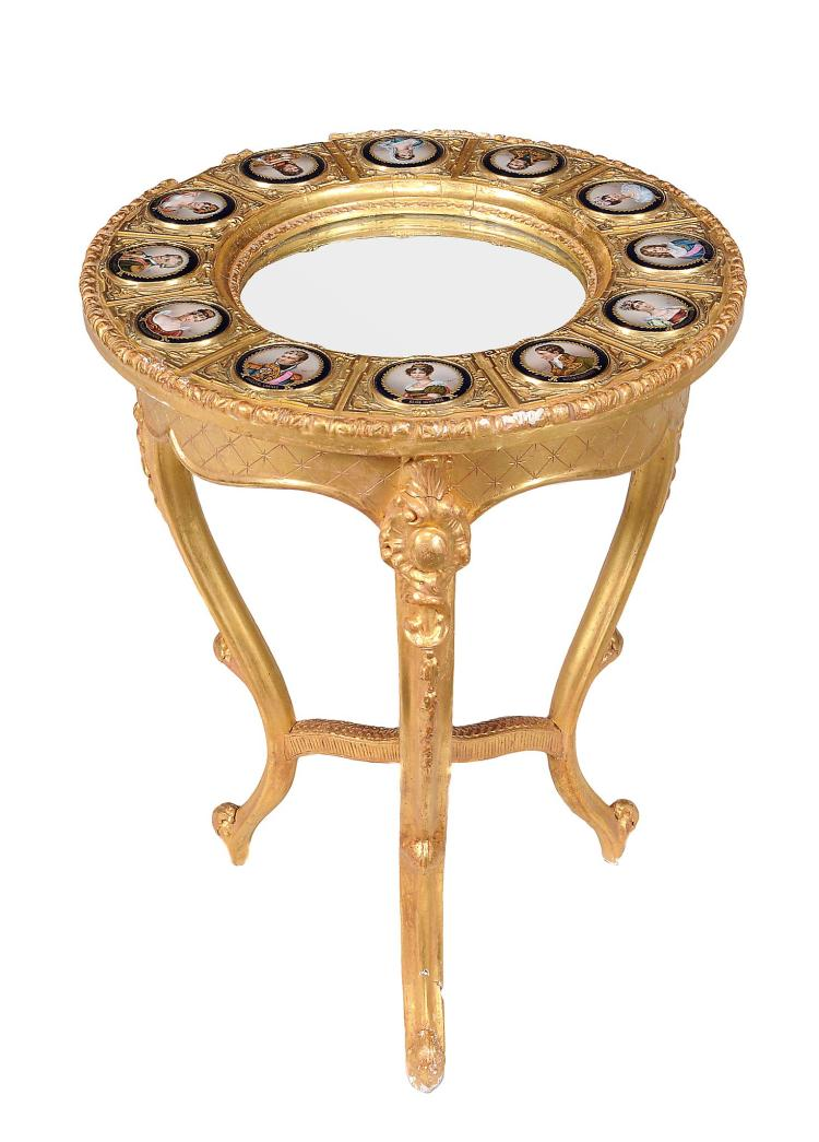 A Continental giltwood and porcelain inset centre table , late 19th century