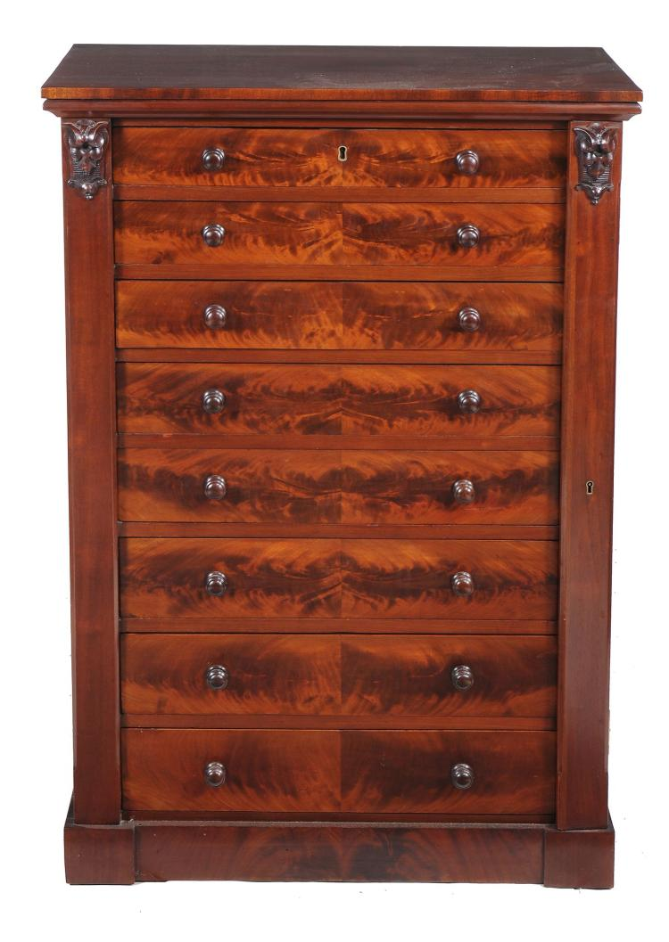 A William IV mahogany wellington chest , circa 1835, possibly Scottish