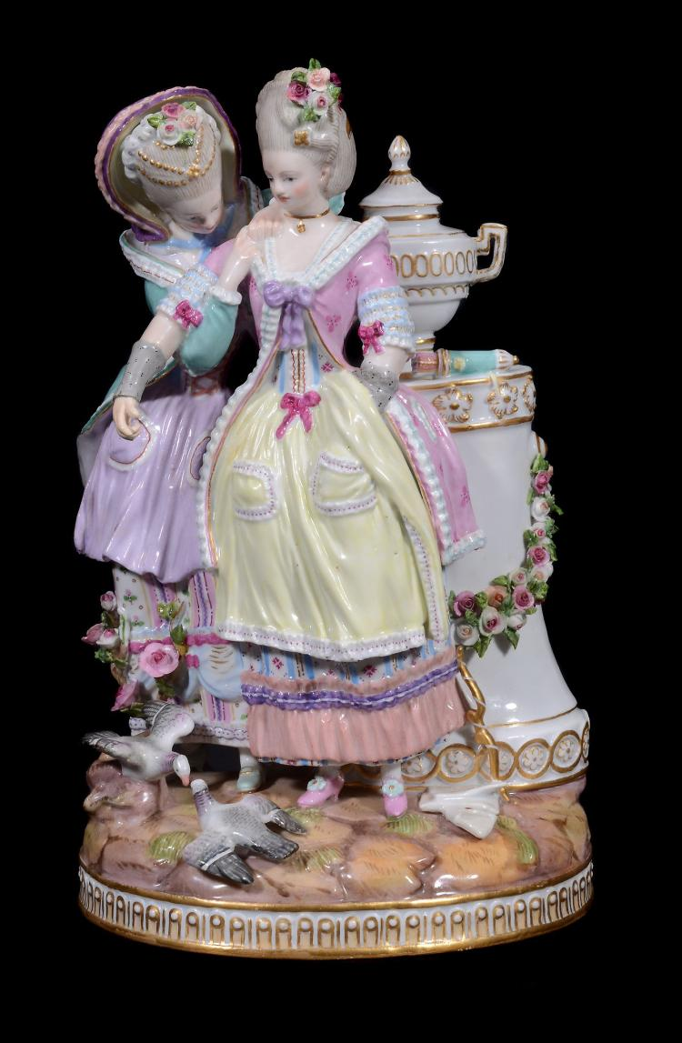 A Meissen porcelain group, 'The Bretrothal, Secret of the Young bride'