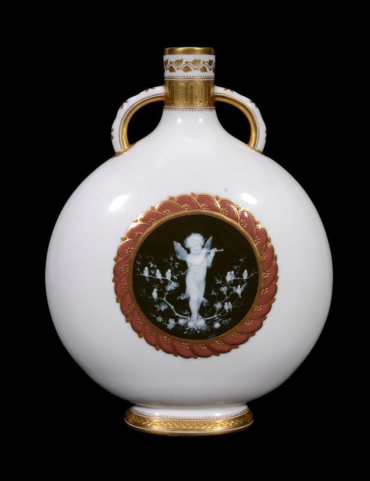 A Mintons porcelain pate-sur-pate pilgrim flask by Henry Hollins , circa 1880
