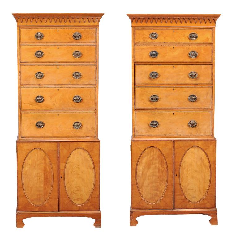 A pair of satinwood and rosewood banded talboys in George III style