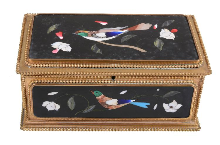 A Continental pietra dure and gilt metal mounted casket, late 19th century