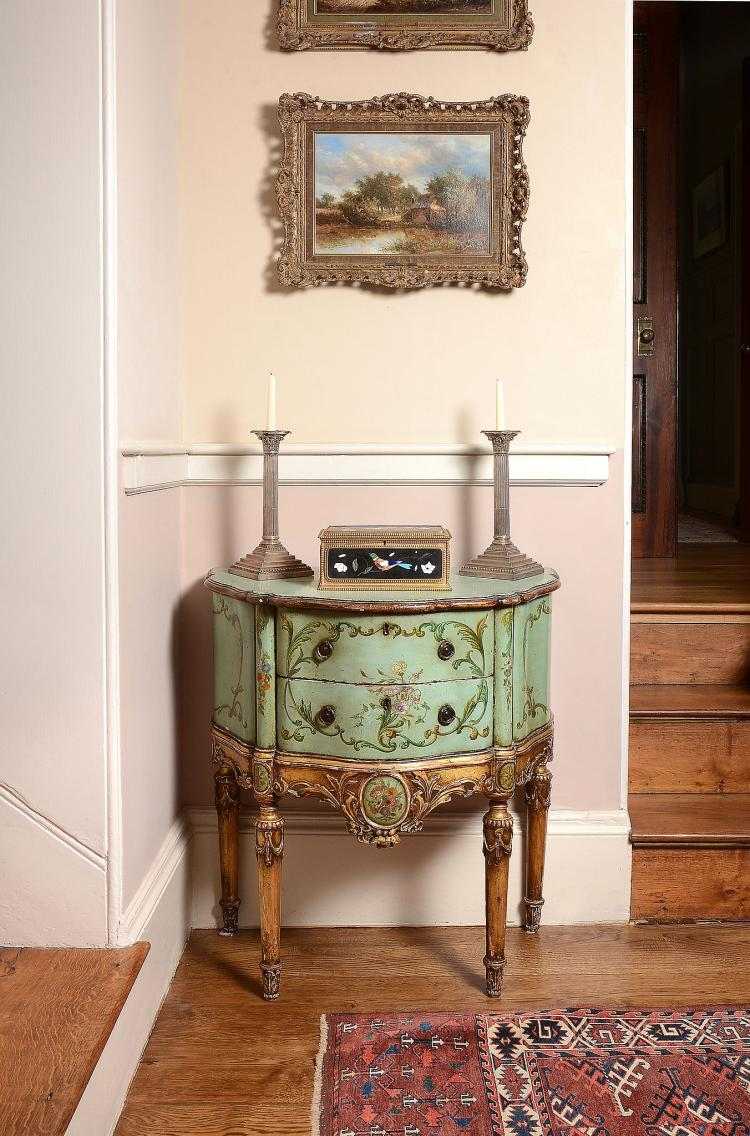 A Continental green painted and parcel gilt petit commode , 19th century