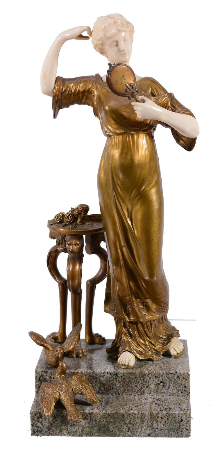 Henri Fugère, , an ivory and gilt bronze model of a maiden, early 20th century