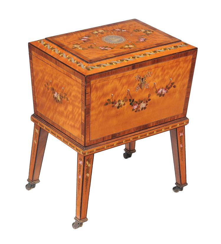 An Edwardian satinwood and painted work box, circa 1910