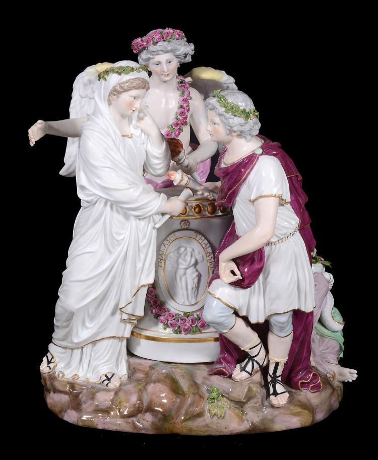 A Meissen classical group 'The Offering' , late 19th century