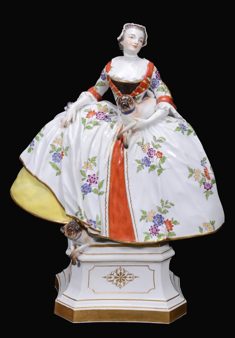 A Meissen model of a lady of the 'Order of the Mops' , circa 1900