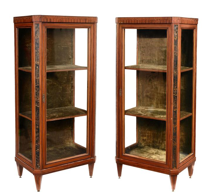 A pair of French satinwood, black lacquer and gilt japanned display cabinets...