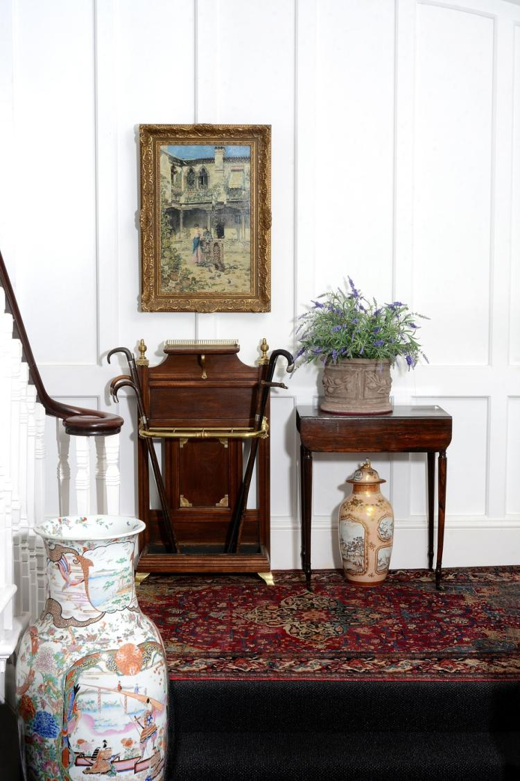 A Victorian oak and brass mounted hall stand, circa 1890