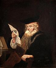 Manner of Govaert Flinck, An old man reading