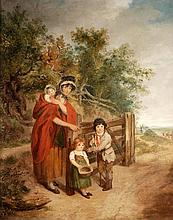 Circle of Francis Wheatley, Family group by a