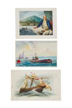 Nockels (David) - a small group of illustrations of ships,