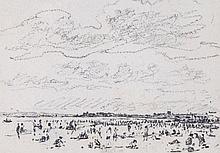 Circle of John Constable - Study for a beach scene,
