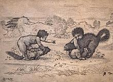 Frederick Hollyer (1838-1933) - Fighting cats restrained by two naked children in an Italianate landscape,