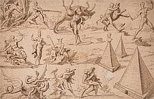 Thomas Carwitham (fl. 1713-1733) - A sheet of studies, showing figures grappling, mythical gods, and pyramids,