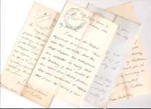 Eastlake, Charles Lock - Five letters signed to the Secretary of the Society of Arts Peter...