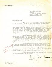 Le Corbusier - F533261 Typed letter signed on personalised stationery to the...