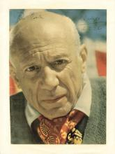 Picasso, Pablo - Colour magazine photograph of Pablo Picasso, signed and inscribed