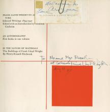 Wright, Frank Lloyd - FRANK LLOYD WRIGHT: AN AUTOBIOGRAPHY, signed and inscribed