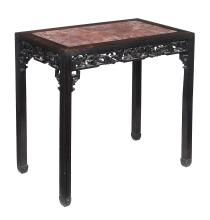 A Chinese hardwood and marble inset table, late 19th/early 20th century