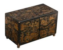 A Chinese Export black lacquer table cabinet, 19th century, with two doors