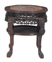 A Chinese hardwood marble mounted jardinière stand, late Qing Dynasty