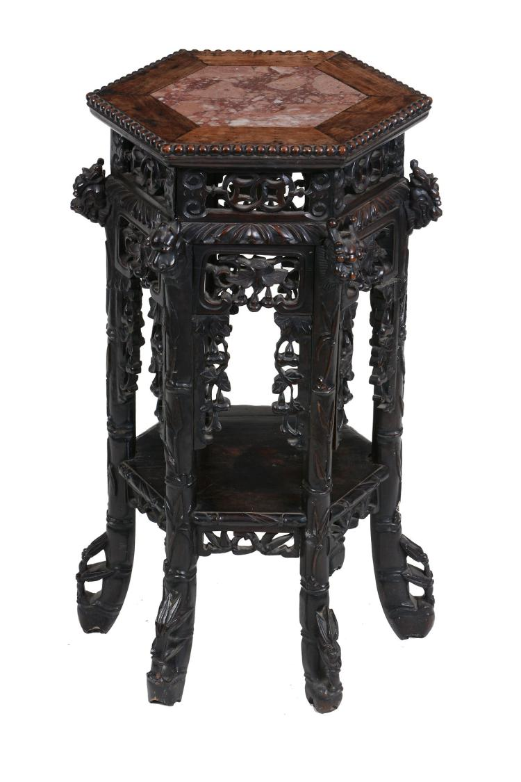 Two Chinese hardwood stands, late 19th century