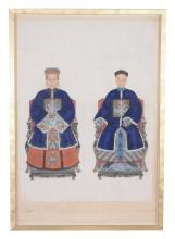 A Chinese double 'Ancestor Portrait', 19th century