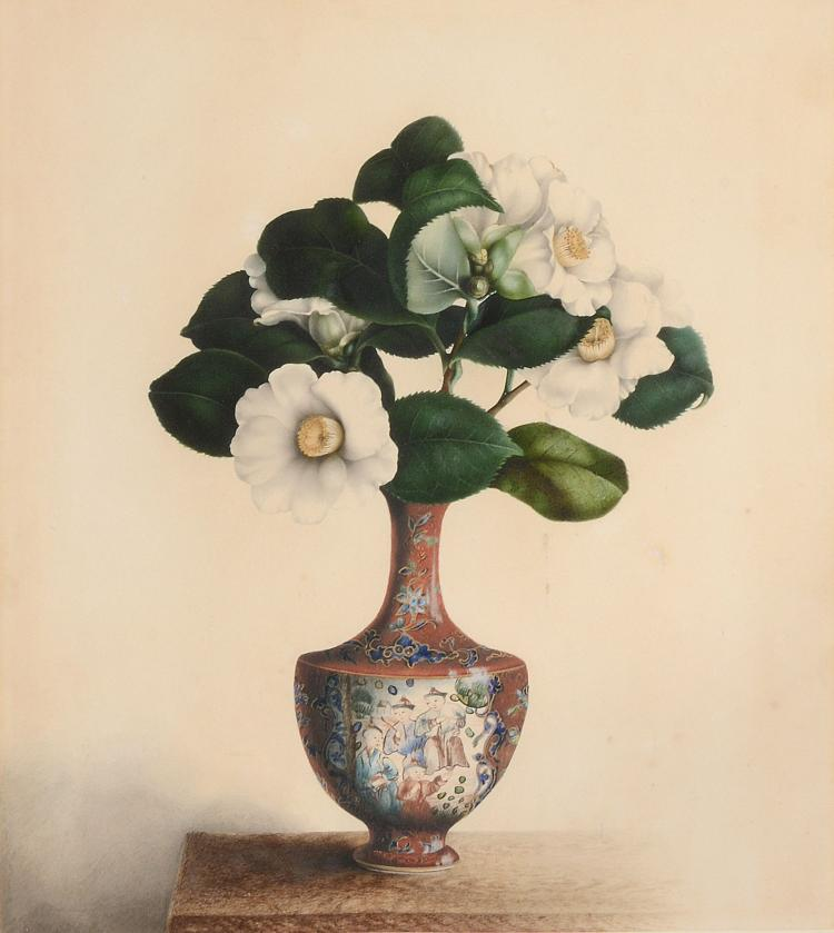 Chinese School , circa 1870, Study of Flowers in a Vase