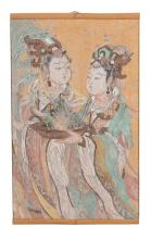 A Chinese Taoist painted fresco fragment, Ming Dynasty, with female attendants