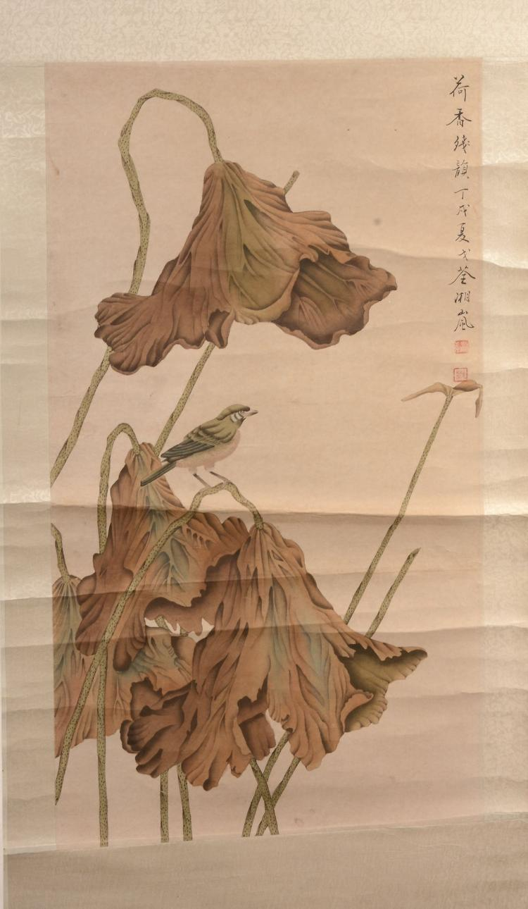 Ge Xianglan, circa 1958 The Remaining Scent of Lotus hanging scroll ink and...