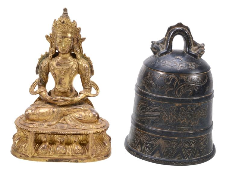 A Sino-Tibetan gilt bronze model of Amitayus