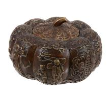 A Chinese parcel gilt 'pumpkin' box and cover, late Qing Dynasty