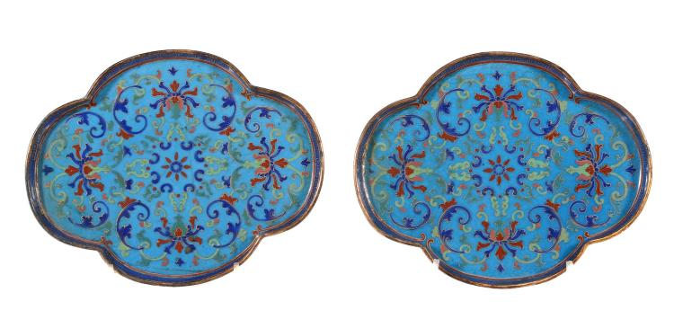 A pair of Chinese enamelled quatrefoil dishes, Qianlong mark and period