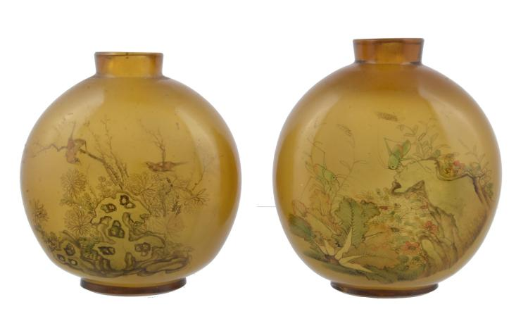 A large pair of Chinese amber glass snuff bottles, late Qing Dynasty