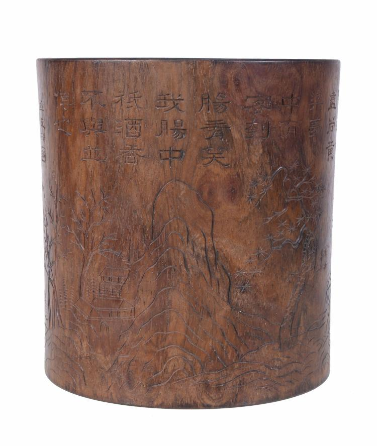 A Chinese hardwood brushpot, Bitong , late 19th or 20th Century