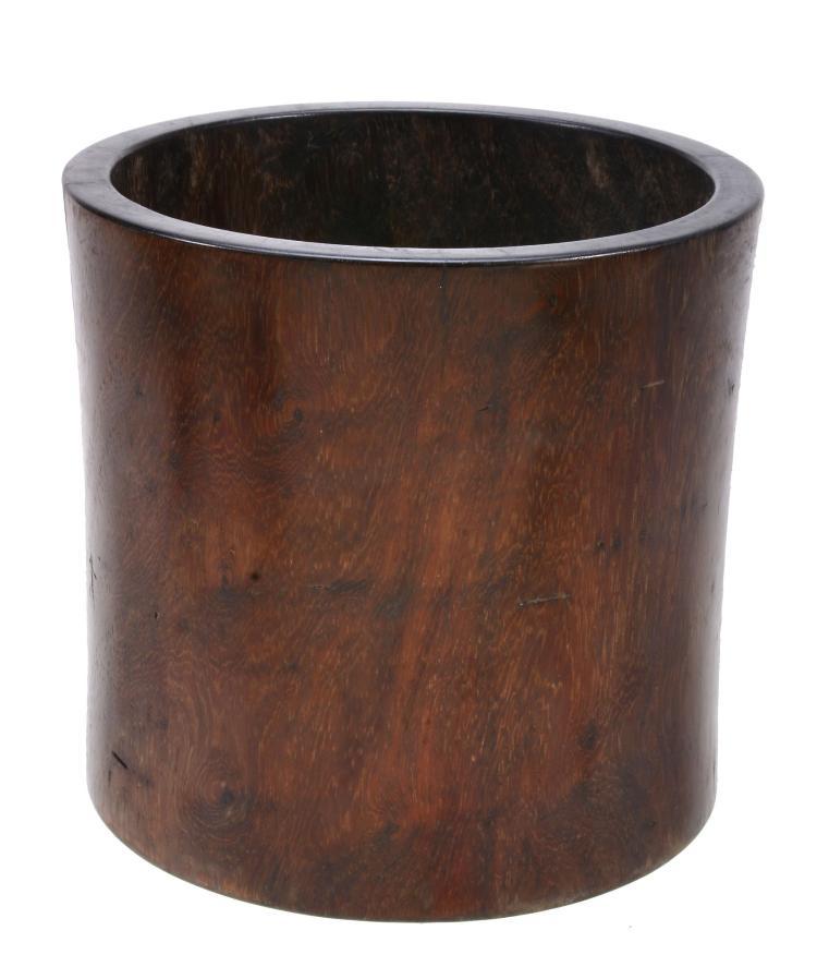 A Chinese hardwood brushpot, bitong, Qing Dynasty