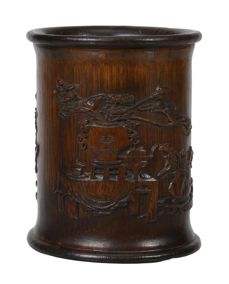 A good Chinese bamboo brush pot, bitong, Qing Dynasty or later