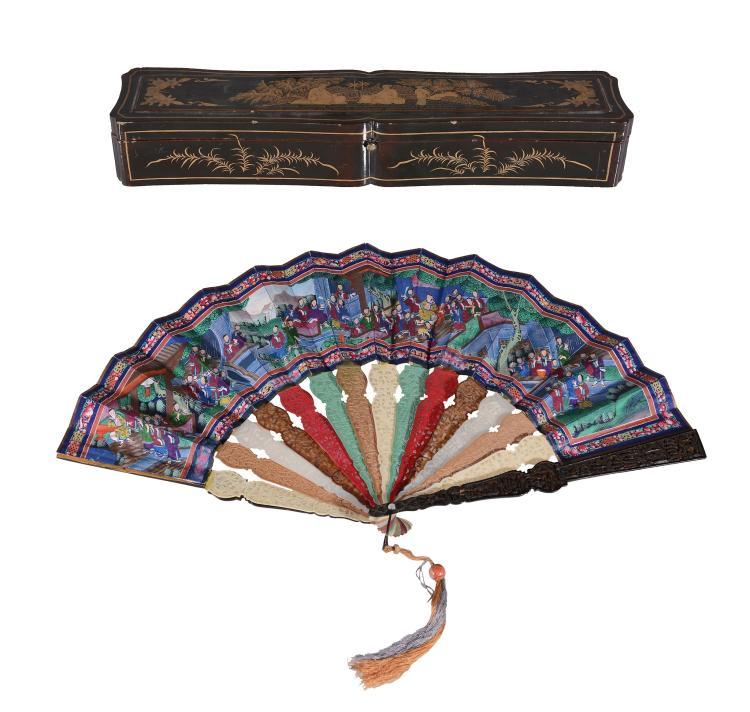 A Cantonese ivory, tortoiseshell and mother-of pearl fan, 19th century