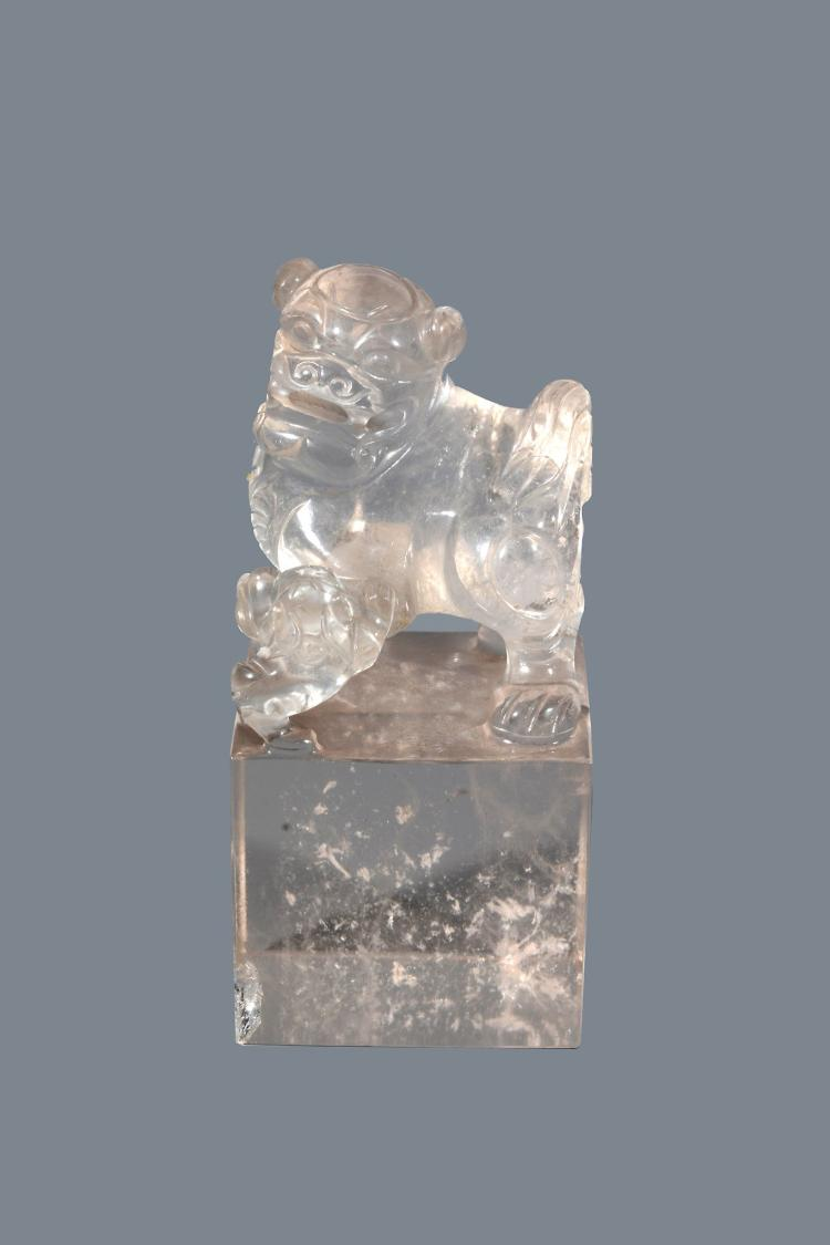 A Chinese Rock Crystal Seal, 19th Century