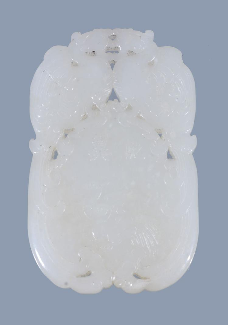 A Chinese white jade 'marriage' pendant or plaque