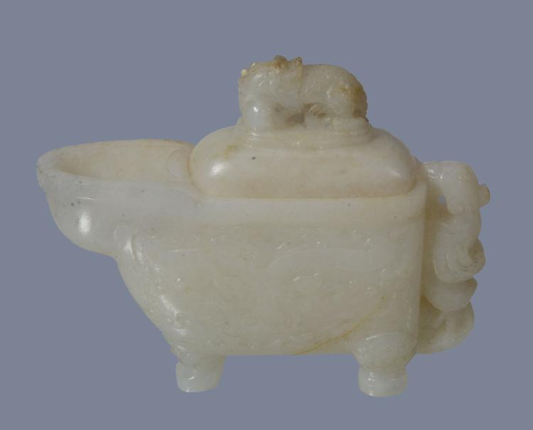 A Chinese white jade archaistic style vessel and cover