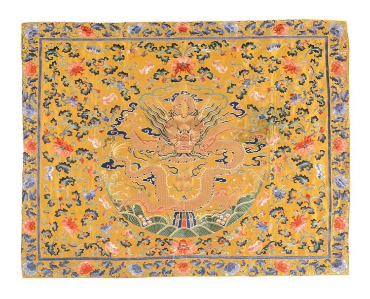 A Chinese Imperial yellow embroidered silk throne seat cushion cover